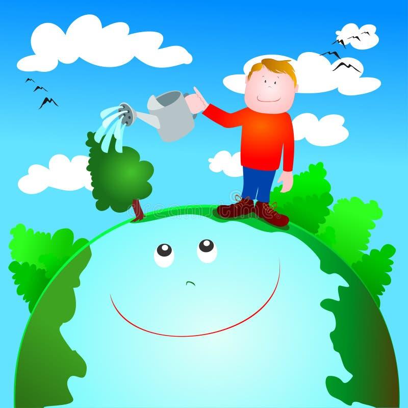 Cura verde e protezione dell'ambiente illustrazione vettoriale