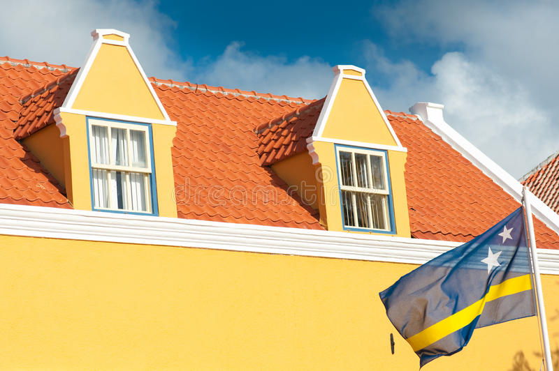 Curacao Dutch Antilles. The city center of Willemstad boasts an array of colonial architecture that is influenced by Dutch styles. The city center, with its royalty free stock photos
