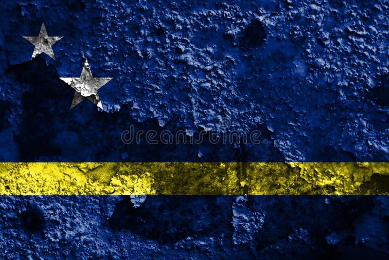 Curacao grunge flaga, holandii terytorium zależna flaga obraz royalty free