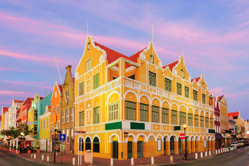 Curacao, Netherlands Antilles. Downtown Willemstad at twilight, Curacao, Netherlands Antilles royalty free stock photos