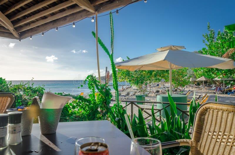 Curacao Porto Mari plaży zmierzch, późne popołudnie obrazy royalty free