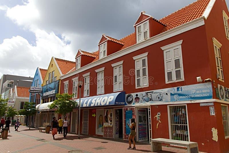 Curacao shoppinggata arkivfoton