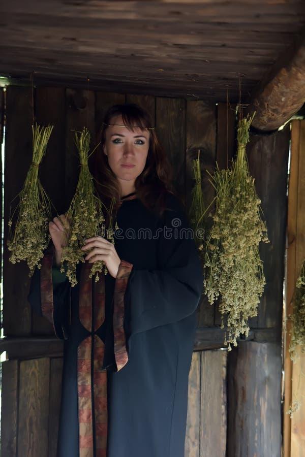 Curador con las hierbas secadas fotografía de archivo libre de regalías