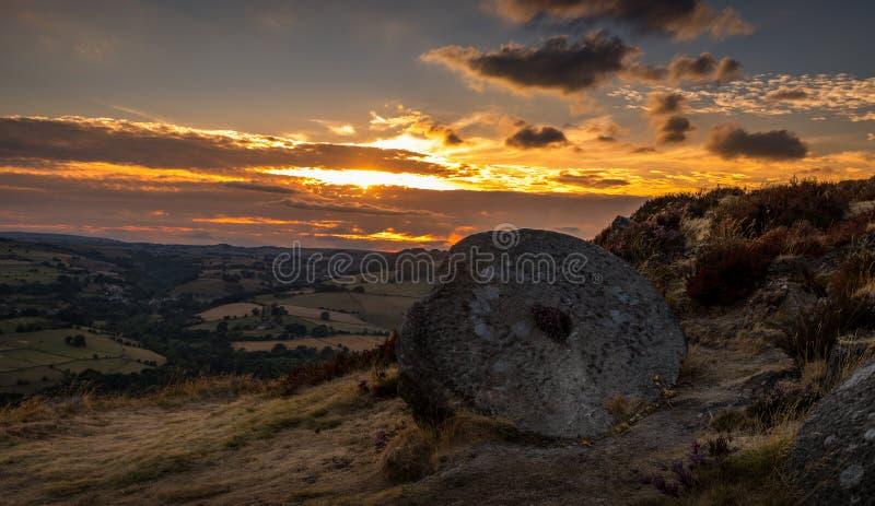 Stone grinder at Curbar Edge royalty free stock photos