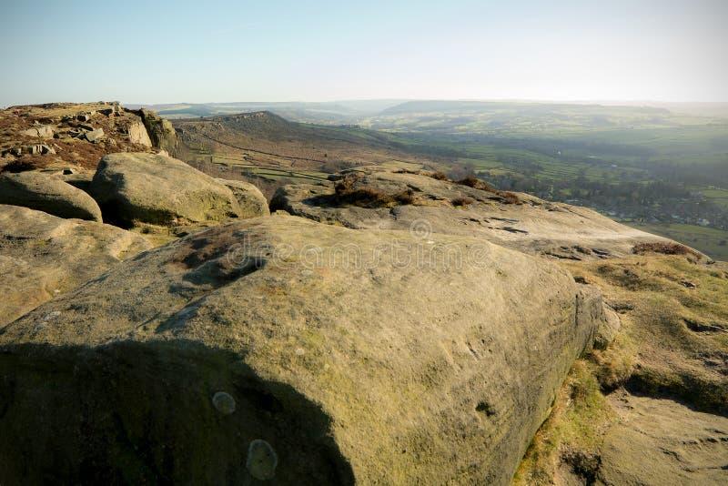 Curbar kant, maximalt område, Derbyshire arkivbilder