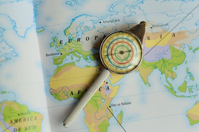 Curbimetru military. Military instrument topographic map stock photos