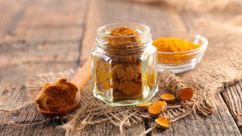 Curcuma and spice for golden milk royalty free stock image