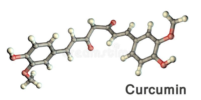 Curcumin molecule, a yellow-orange dye obtained from tumeric. Curcumin molecule, a yellow-orange dye obtained from turmeric, 3D illustration. It has high vector illustration