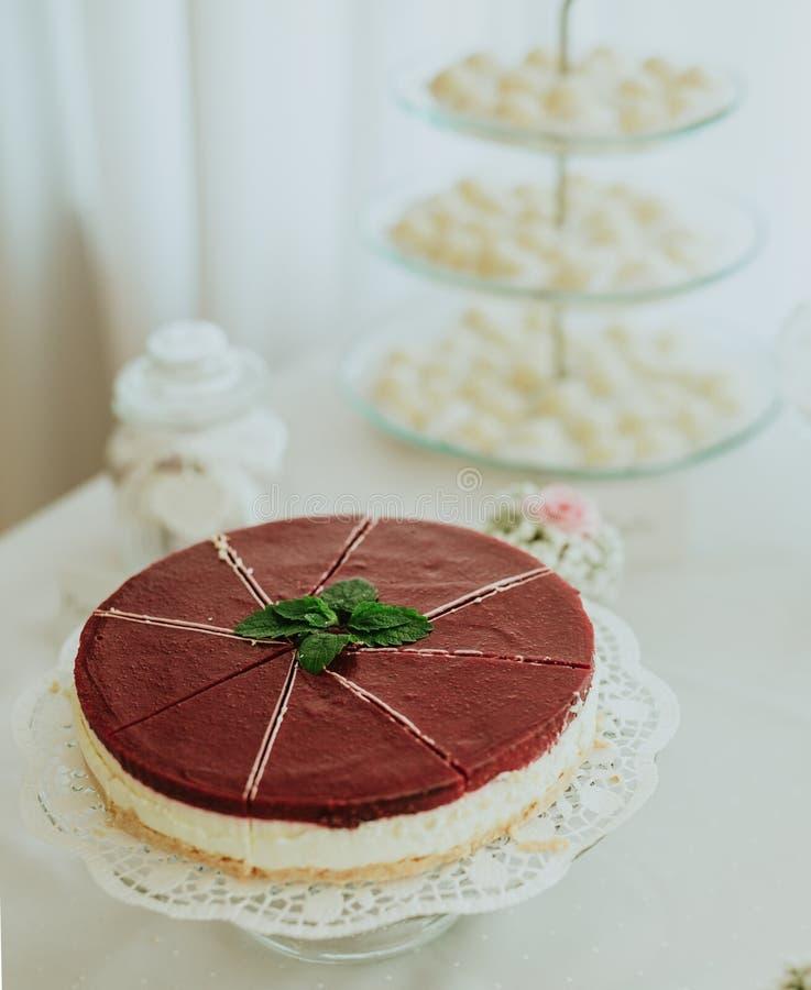 Curd cake. Sweet cake on white table stock photo