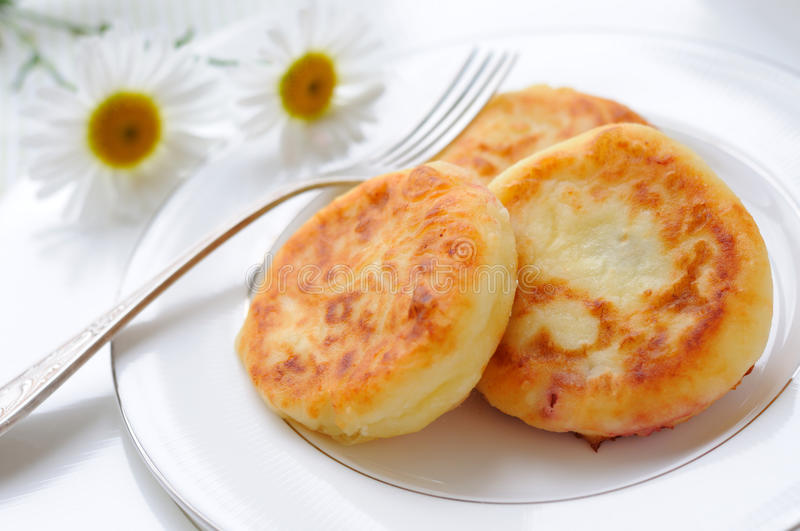 Curds pancakes stock images