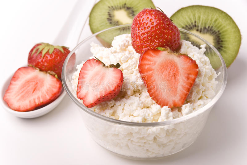 Curds, strawberries and kiwi royalty free stock photo