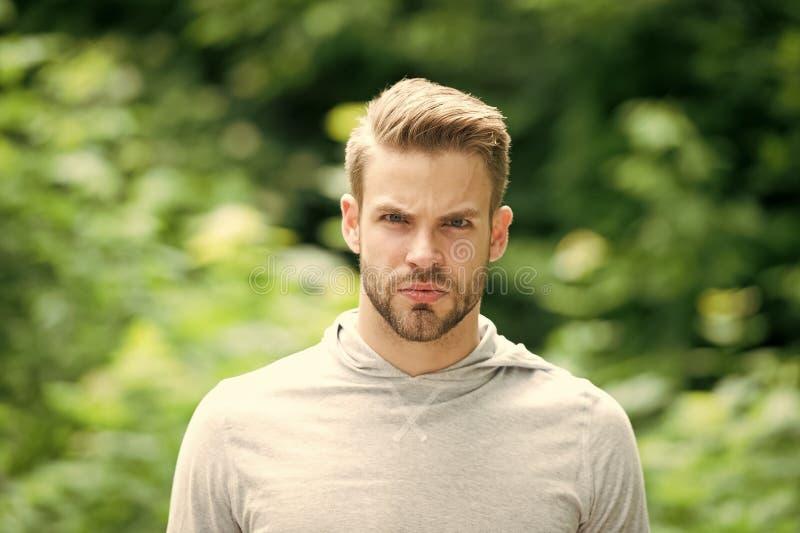 Cure barbute ed attraenti del tipo circa l'aspetto Uomo con la setola sul fronte serio, fondo verde della natura, defocused fotografie stock