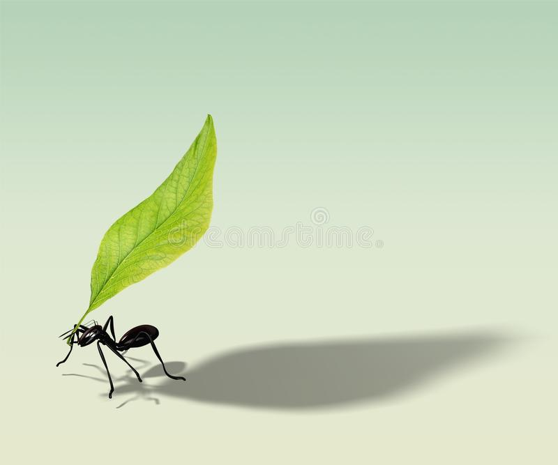 Cure black Ant with Green Leaf stock illustration
