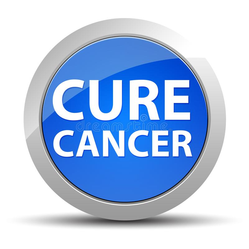 Cure Cancer blue round button stock illustration