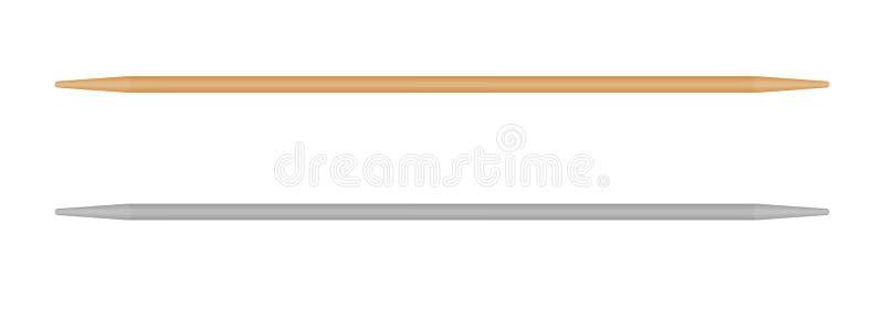 Cure-dents en bois, bâtons chinois de nourriture Brochettes d'isolement de vecteur sur le fond blanc Illustration r?aliste illustration libre de droits