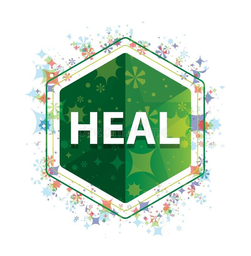 Cure el botón floral del hexágono del verde del modelo de las plantas stock de ilustración