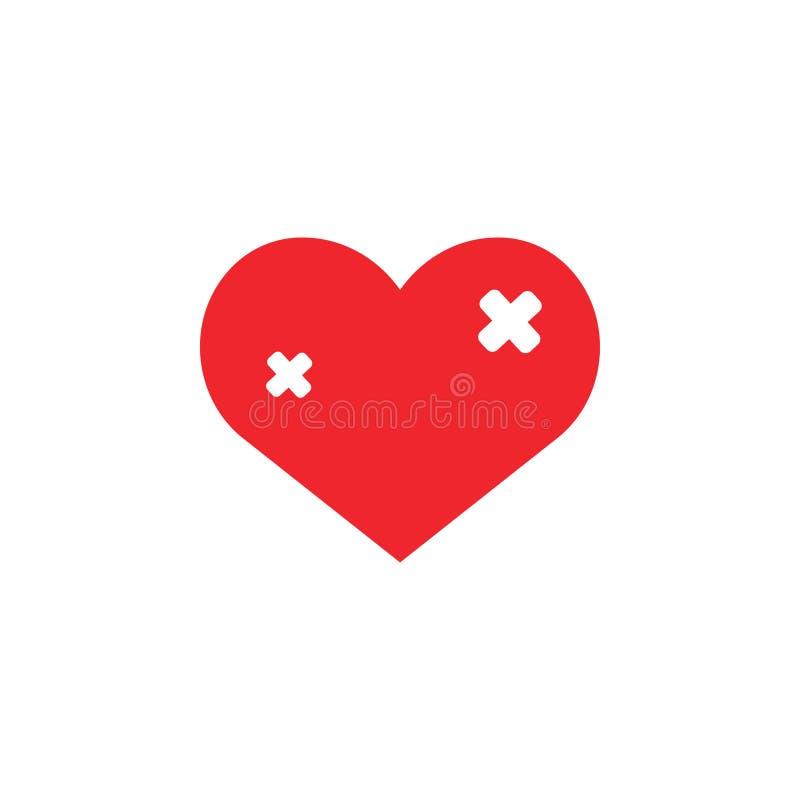 Cure el vector de la plantilla del diseño del icono del amor aislado stock de ilustración