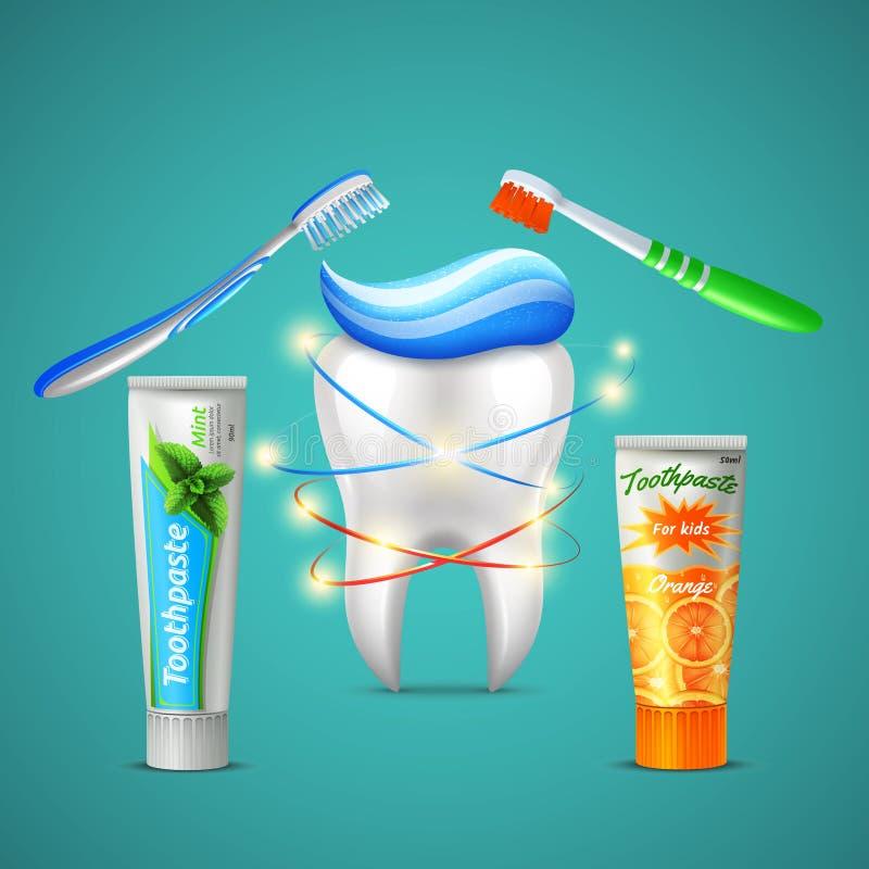 Cure odontoiatriche del dente realistiche illustrazione vettoriale