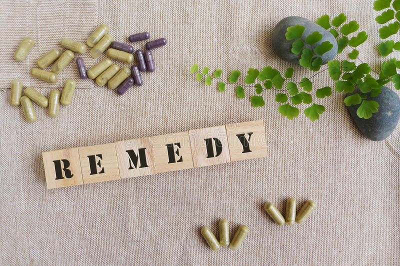 Remedy medicine concept stock images