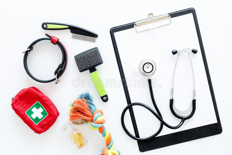 Cure tools for pet cat and dog with toys, stethoscope for treatment in grooming set on white background top view. Cure tools for pet cat and dog with toys stock photos