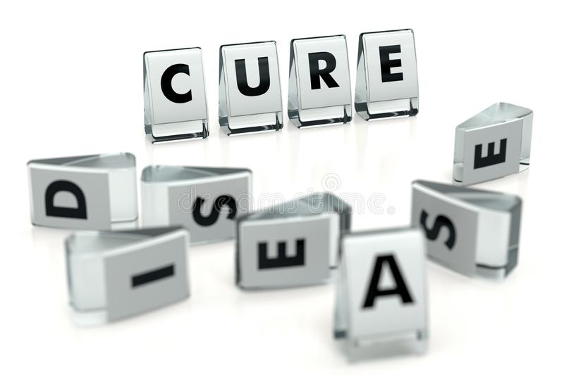 CURE word written on glossy blocks and fallen over blurry blocks with DISEASE letters. Isolated on white. Cure can beat or heal vector illustration