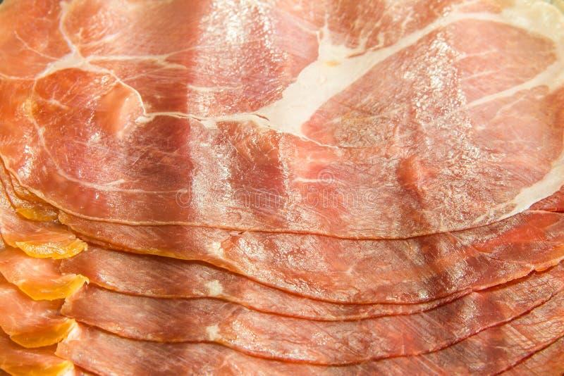 Download Cured Italian Ham Prosciutto Slices Background Stock Image - Image: 25216191