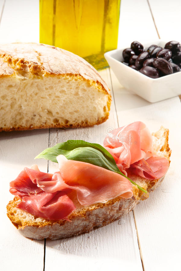 Cured parma ham bruschetta stock image