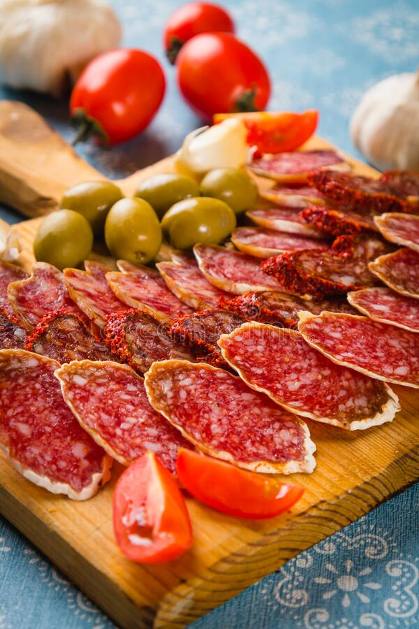 Cured pork and beef sausages royalty free stock images