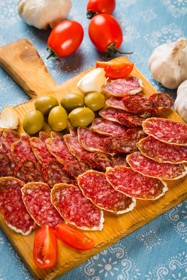 Cured pork and beef sausages stock image