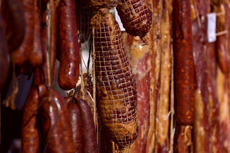 Cured Pork Meat. Selecive Focus with Shallow Depth of Field., Smoked and Preserved Pork Meat is Considered a Delicacy Food in Some Cultures stock photos