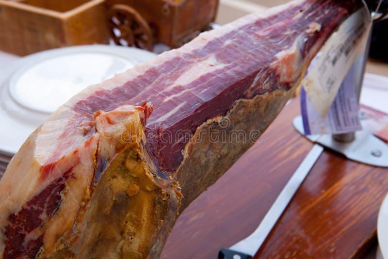 Cured spanish ham leg stock image