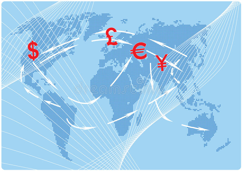 Curency Flow. Illustration of world map with currency symbol and arrows royalty free illustration