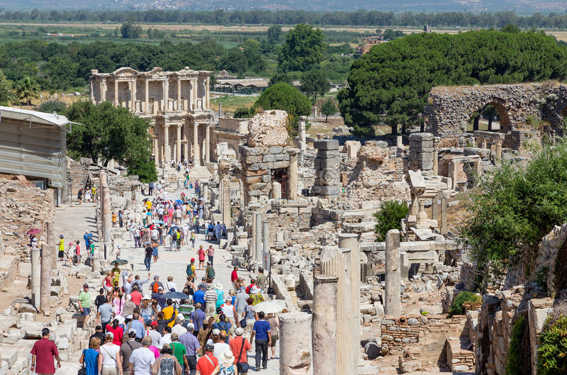 Curetes street and Celsus library, Ephesus, Turkey stock image