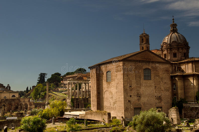 The Curia in the roman Forum stock images