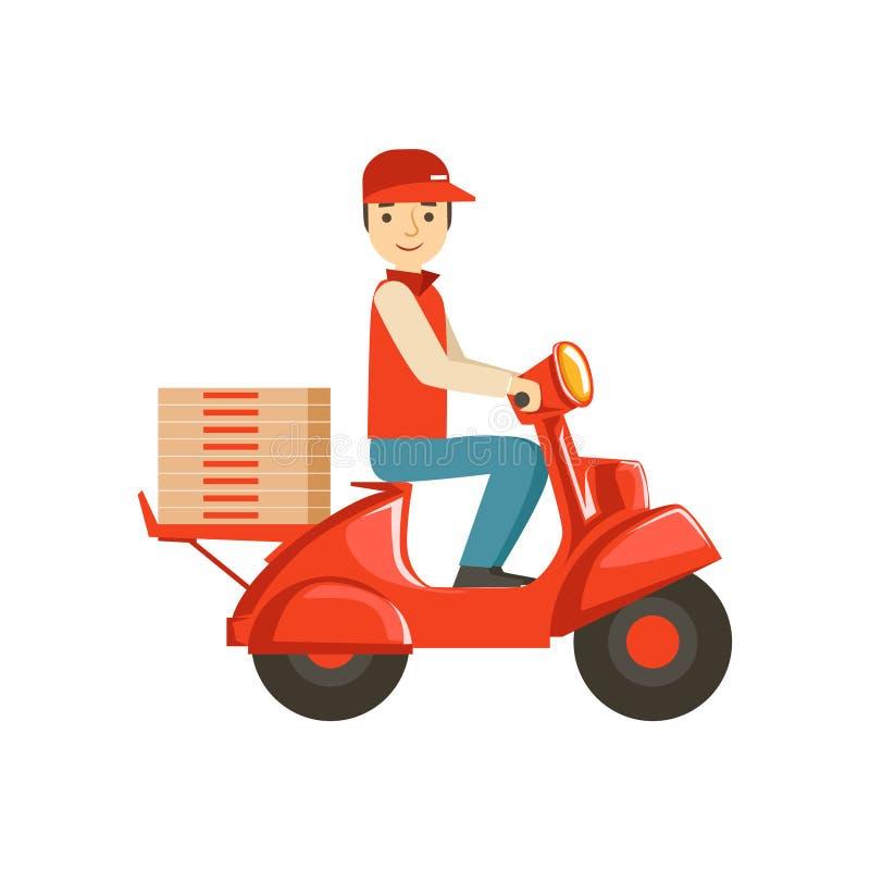Curier sur la pizza de Delvering de scooter, une partie de la collection à emporter de service de distribution d'aliments de prép illustration libre de droits
