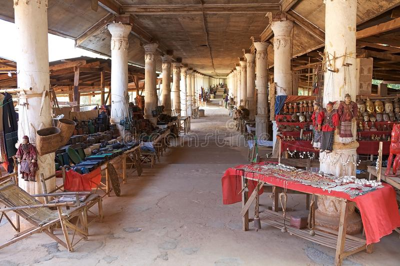 Curio shop in Myanmar. Souvenir street shop on the Inle Lake at the village of Indein, on the western bank of the lake, Myanmar or Burma. Inle Lake is a stock photos
