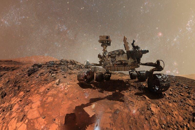 Curiosidad Marte Rover que explora la superficie del planeta rojo ilustración del vector