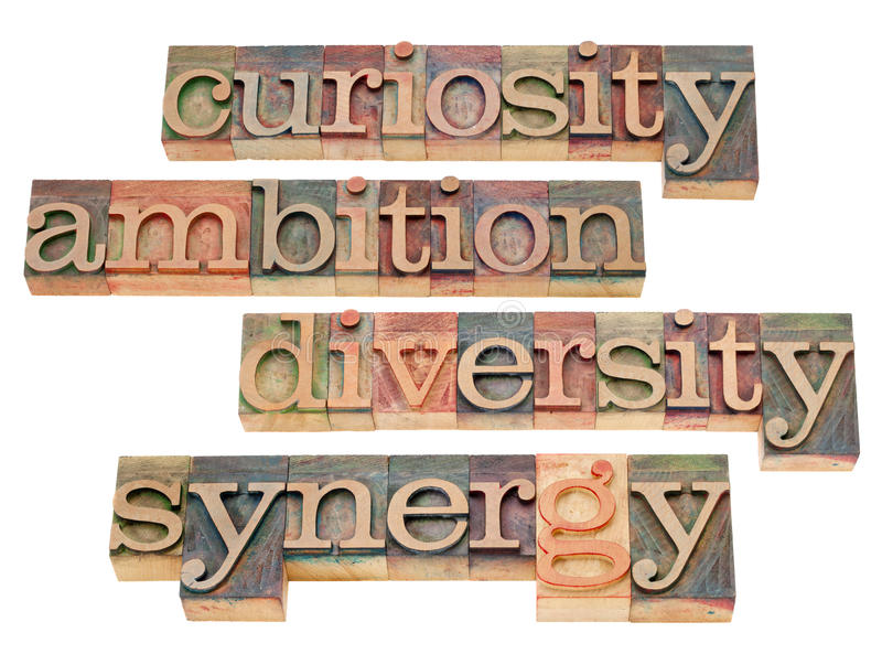 Curiosity, ambition, diversity and synergy. A collage of isolated word in vintage wood letterpress printing blocks stock photos
