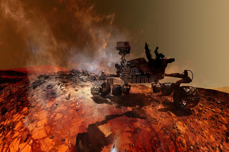 Curiosity Mars Rover exploring the surface of red planet. Elements of this image furnished by NASA stock photography