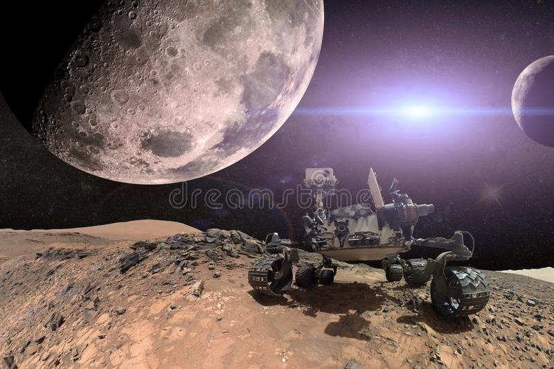 Curiosity Mars Rover exploring the surface of red planet. stock images