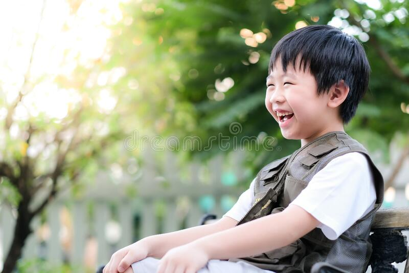 Curioso garotinho asiático sentado na cadeira no jardim Explorar o mundo, atividades ao ar livre Sentir diversão e sorrir fotografia de stock royalty free