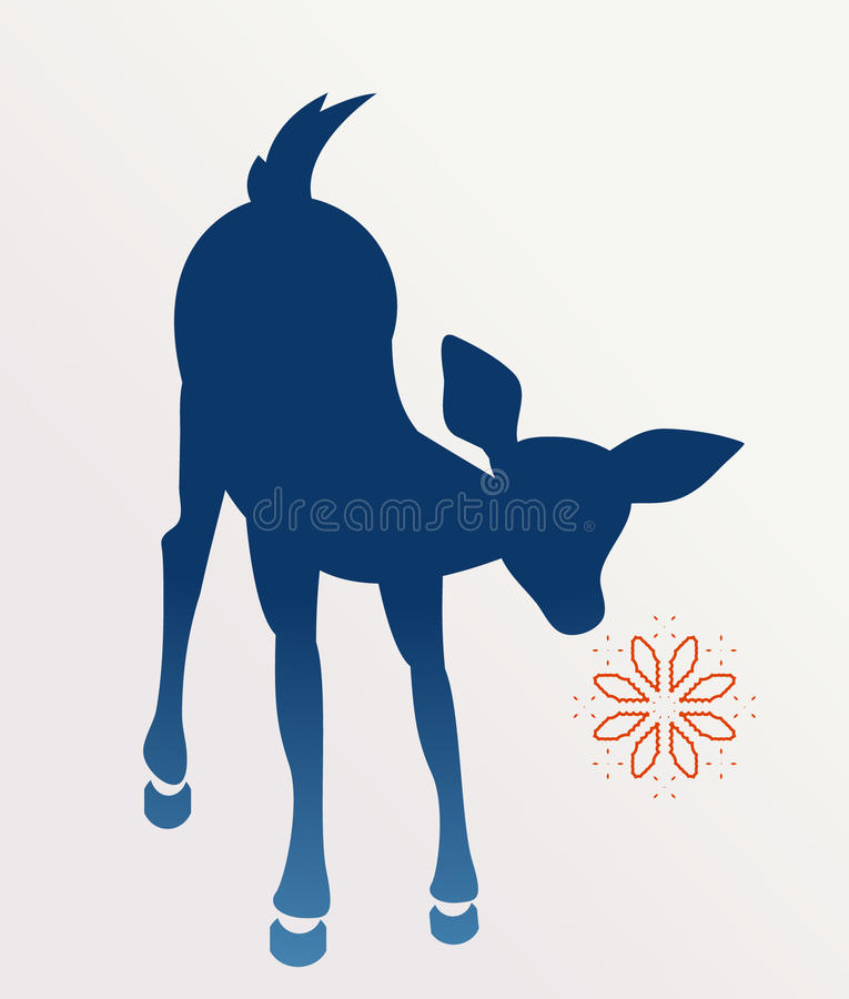 Download Curious Baby Deer With Snowflake Stock Vector - Image: 25407887
