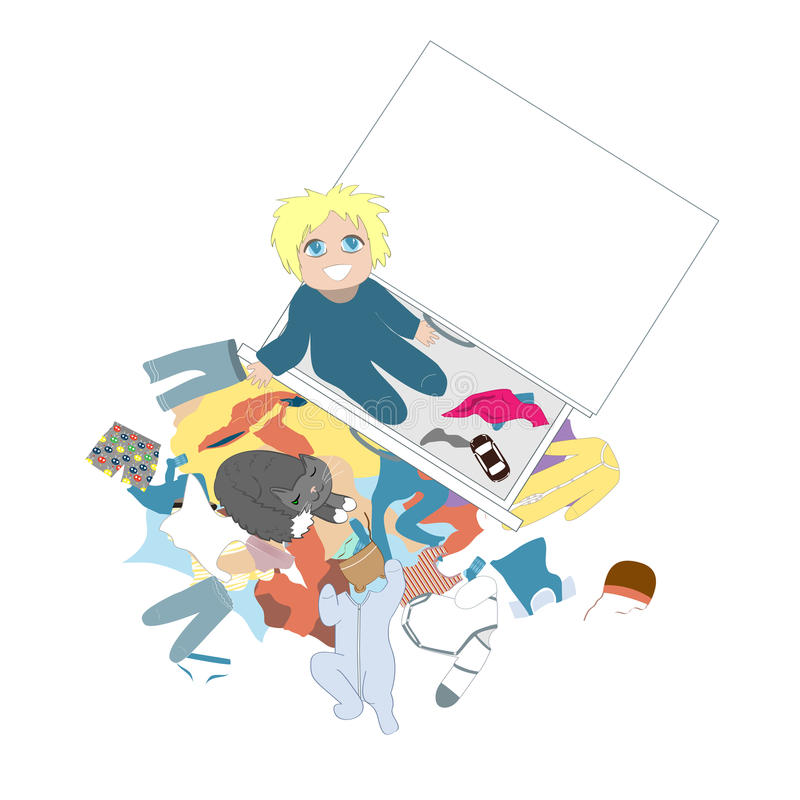 Curious baby looking out of the the children`s chest of drawers. Happy kid is taking everything out from the dresser. Drawer. Messy clothing concept. Vector stock illustration