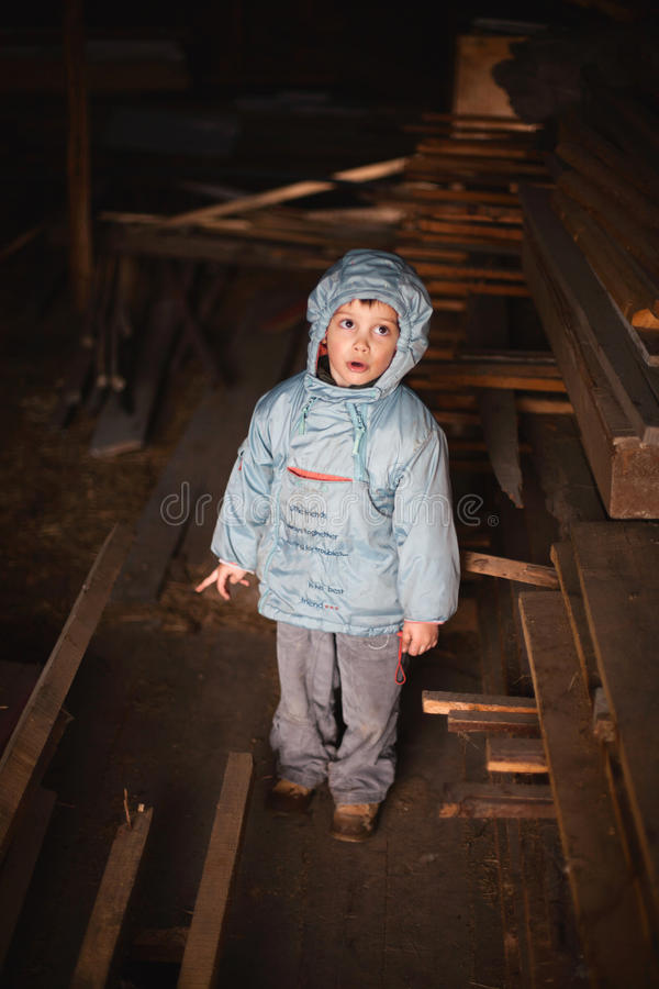 Download Curious boy in attic stock image. Image of discovering - 27020061