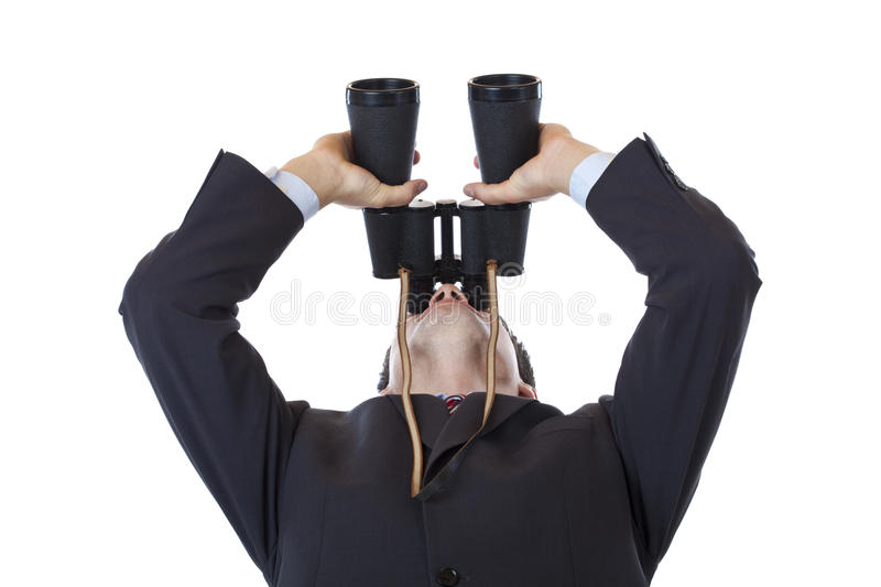 Download Curious Businessman Holds Binoculars Up To The Sky Stock Photo - Image: 20298608