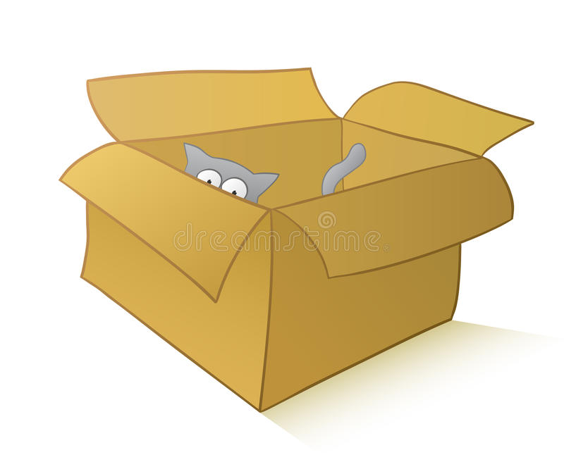 Download Curious Cat In A Carton Box Stock Vector - Illustration: 19080842