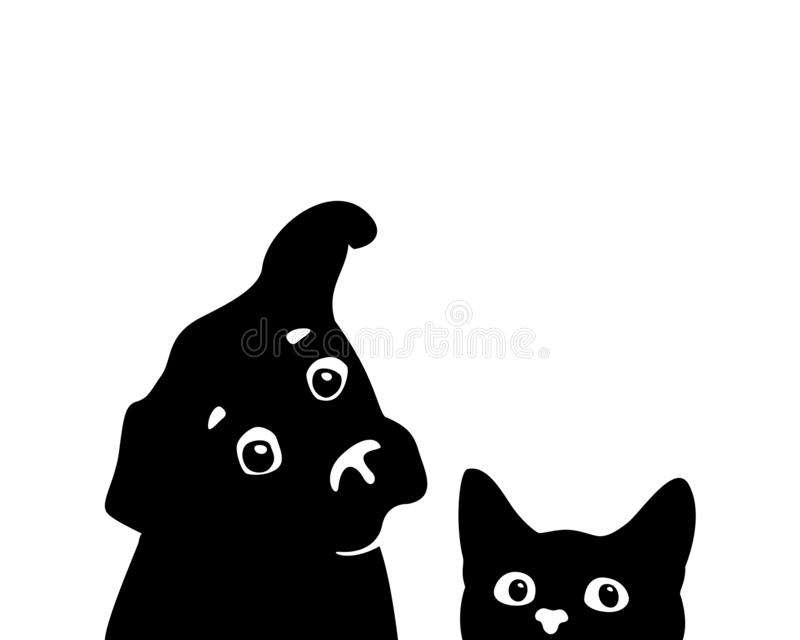 Curious cat and dog muzzles. Vector. Curious cat and dog muzzles. Sticker on a car or a refrigerator vector illustration