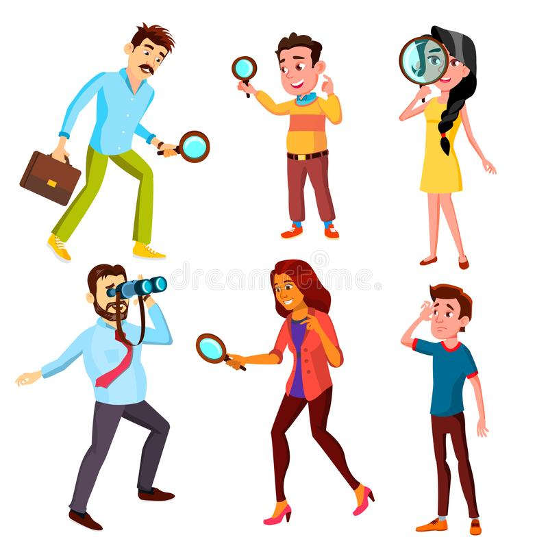 Curious Characters Looking Information Set Vector stock illustration