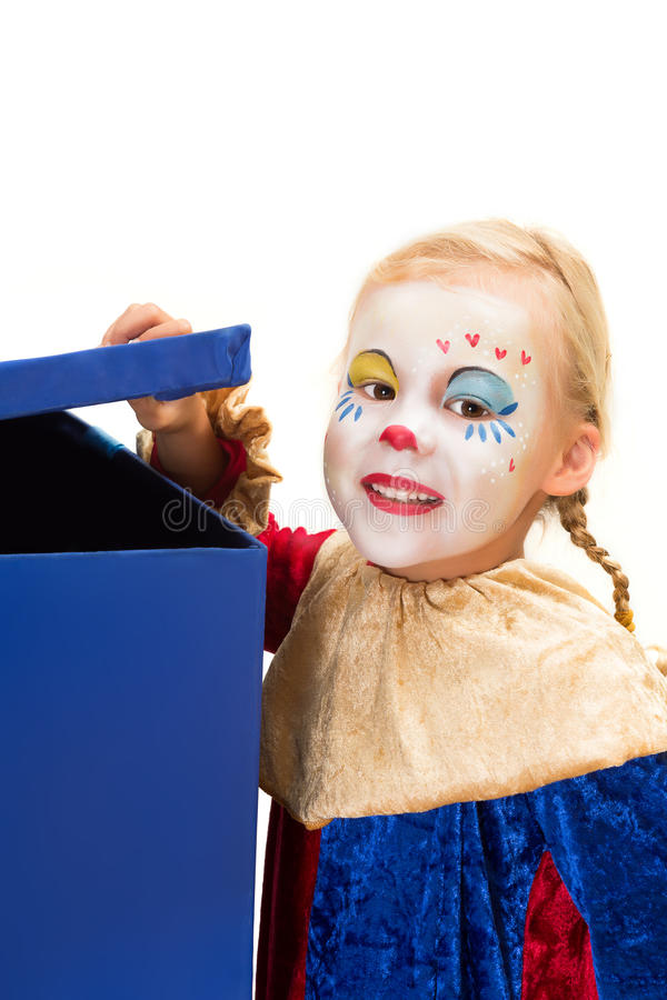 Curious clown with box stock photos