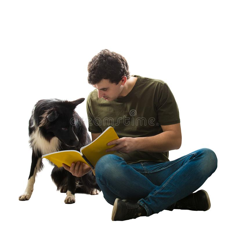 Curious dog reading book royalty free stock image